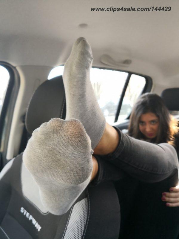 Cute anonymous girl 01 – socks teasing in the car