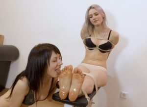 Astrid and Kate Anima. Girlfriends foot licking