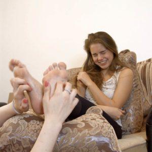 Astrid tickles Leya's dirty feet on a sofa + small tickling challenge