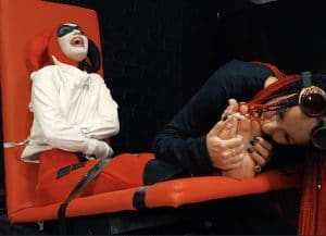 Crazy Harley Quinn fails – Long feet tickle, licking toes and straitjacket + gag