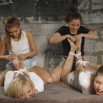 Quadruple tickle madness. Leya and Tonya torment Vila and Dana