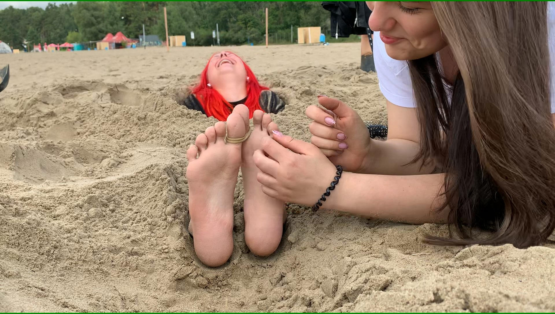 Julie tickles Yana's Feet! Revenge! Buried in the sand Public Beach