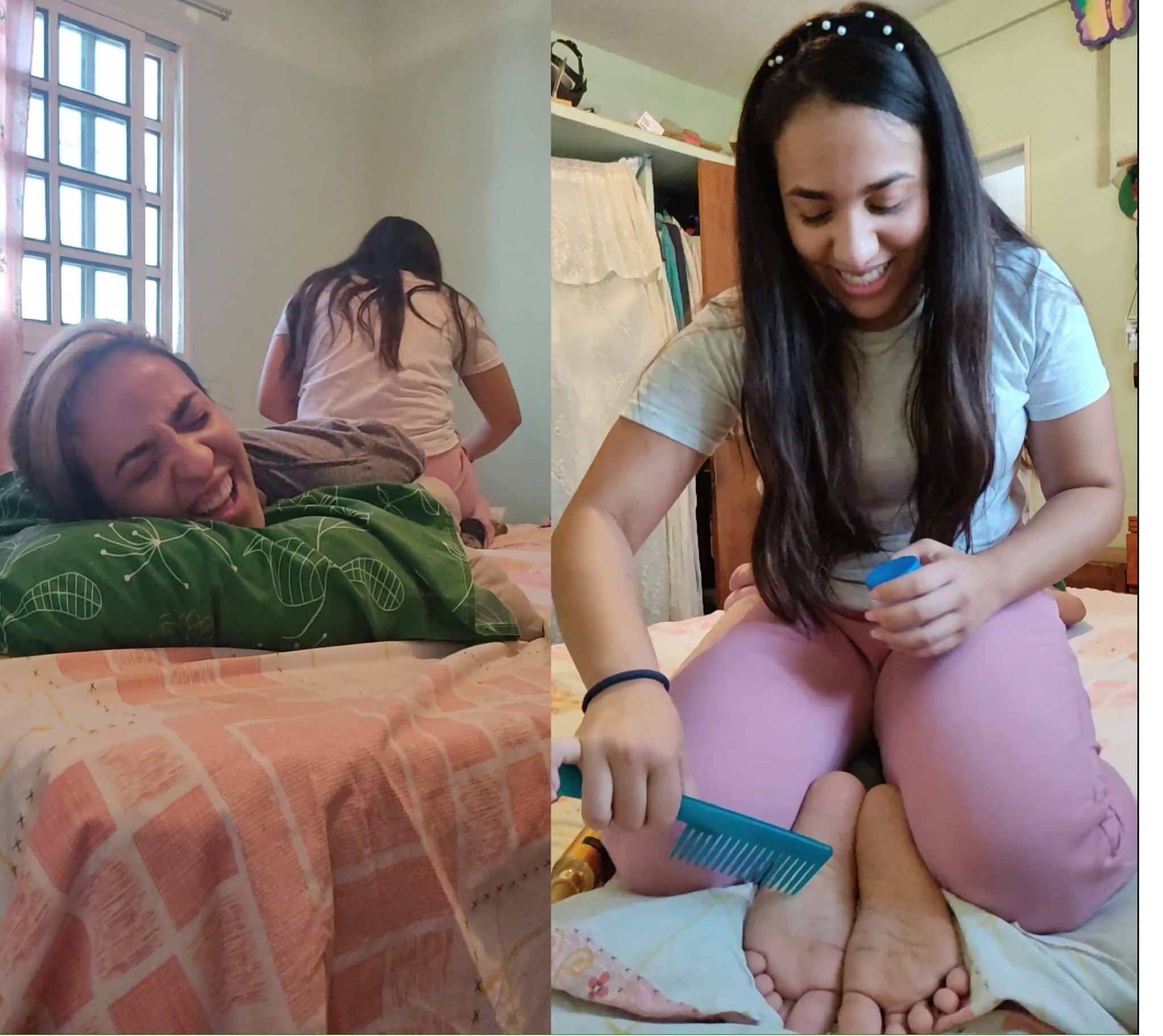 Evelyn tickles her sister Samantha's feet