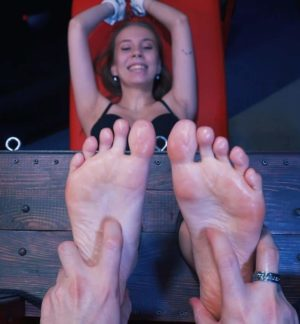 50 min of tickling oiled Vita's feet in stocks and wet armpits in V-pose
