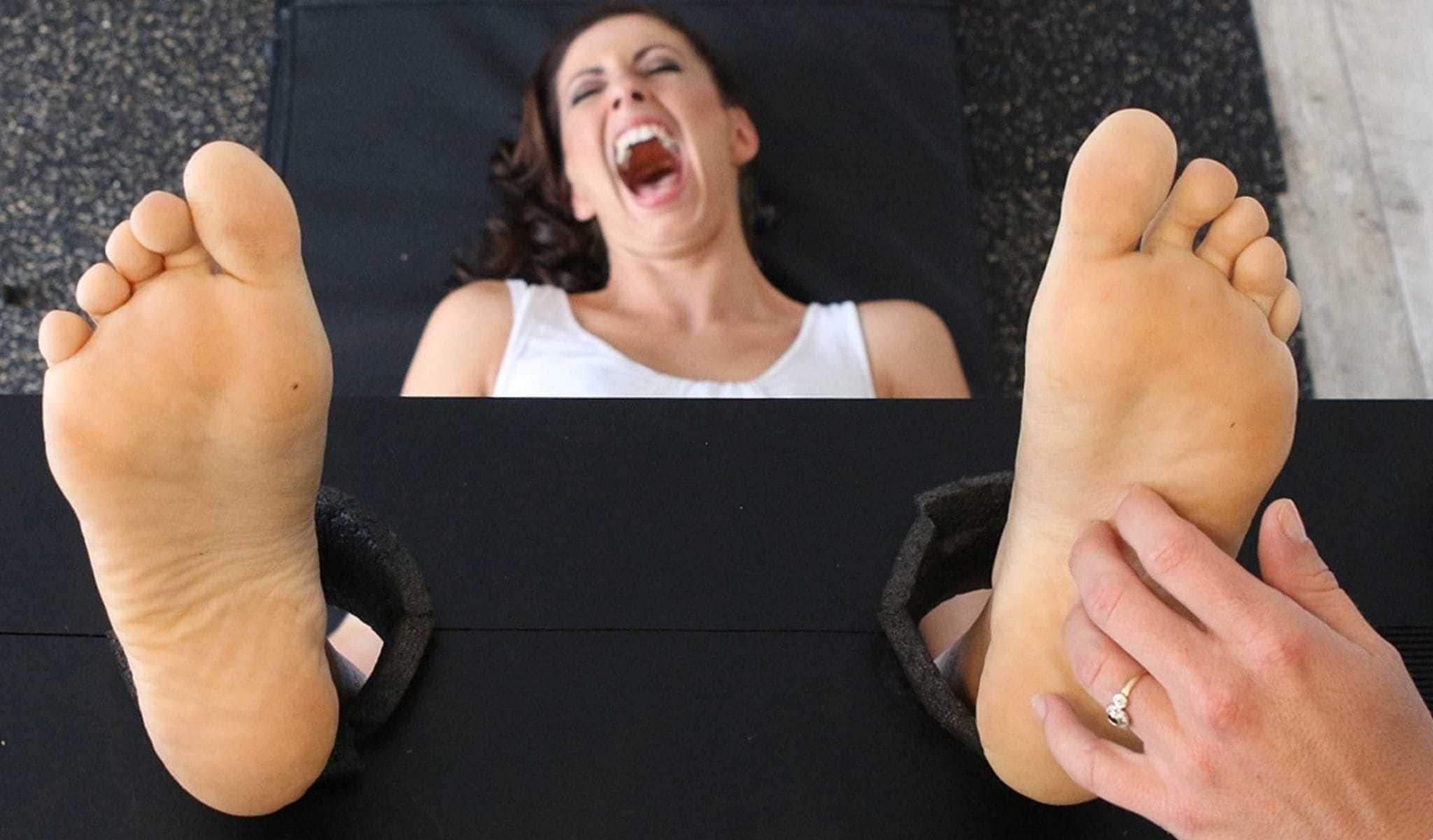 Crazily Ticklish Girls Have Fun : Calie Tickles Jennie's Feet