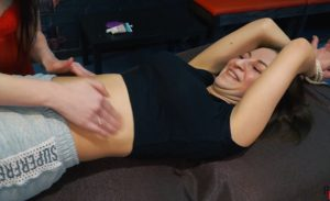 New sport ticklish girl on test with 2 cameras