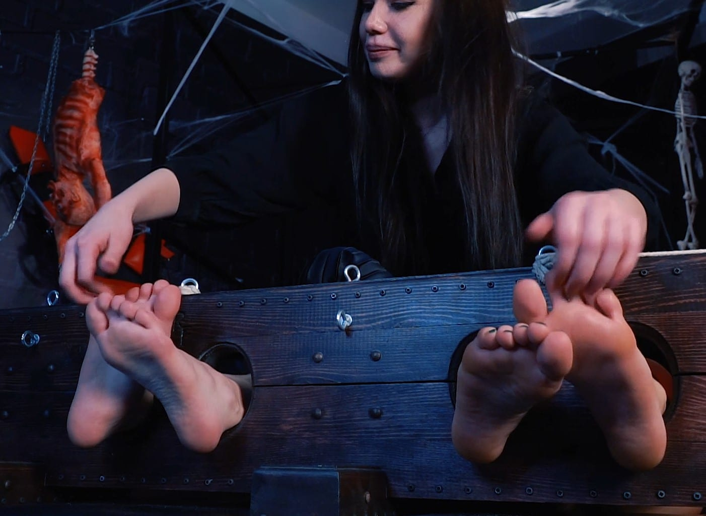 Tickling Atlanta and Gera in stocks – First dark  of ticklish sisters