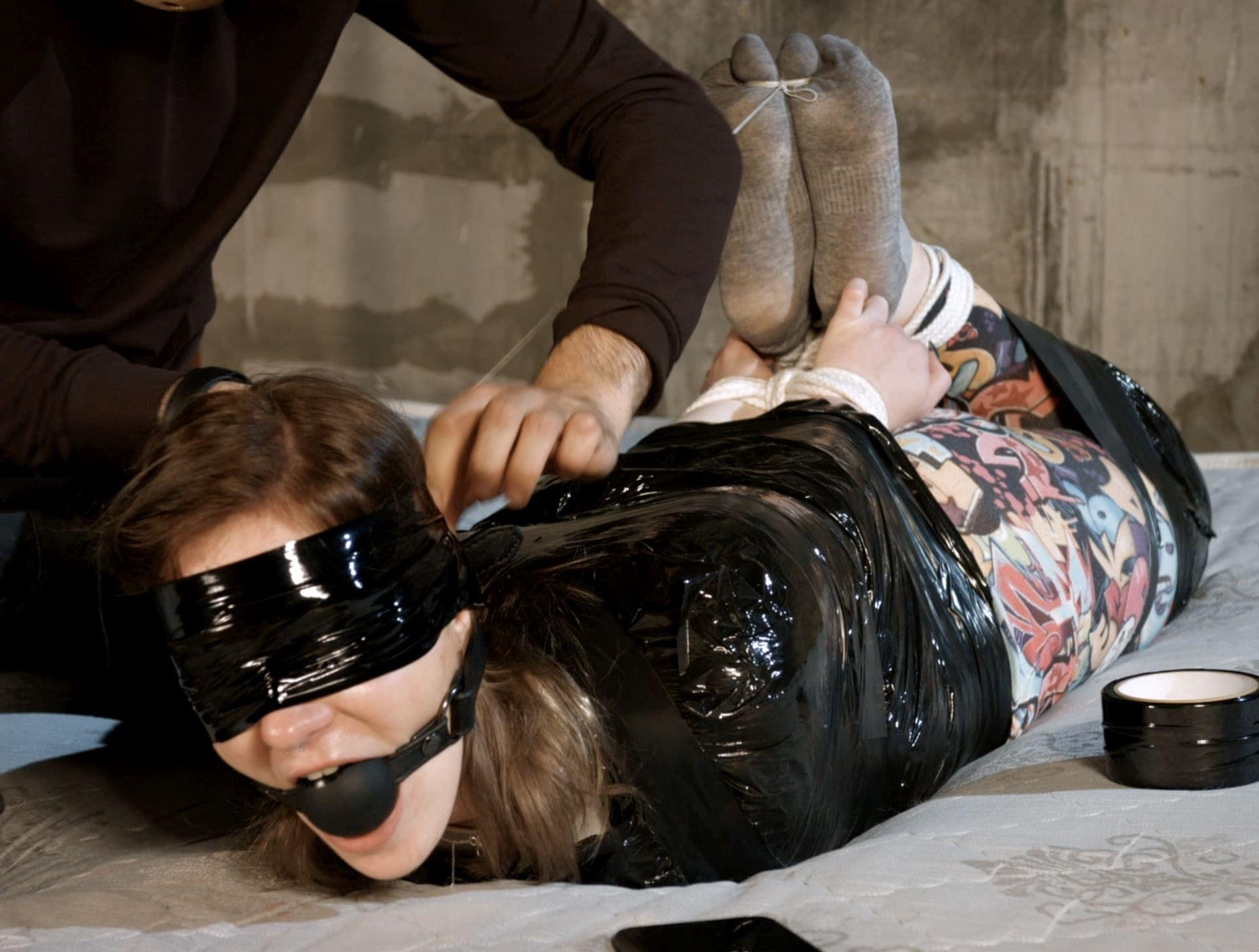 Painful challenge for Lisichka. Tight hogtie and foot torture