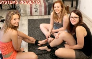 Girls Tickle Their Bare Feet Each Other